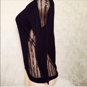Tops - Black blouse with mesh material 3/4 sleeve.