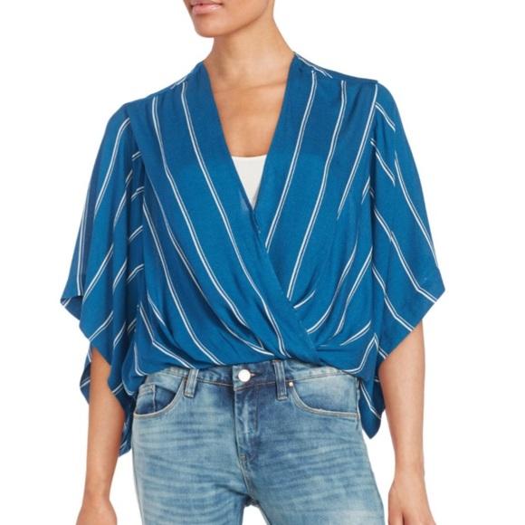 2ea922473 Free People Tops - Free People Blue Draped Striped Kimono Blouse Top