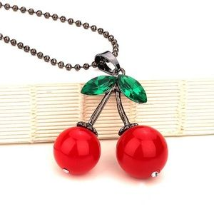 Jewelry - ✂️PRICE✂️🍒Blinged Out Cherry Necklace🍒