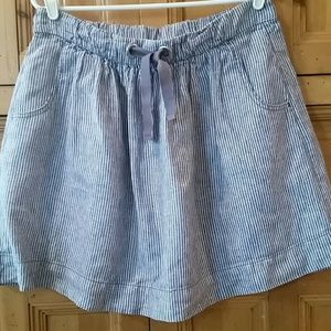 J Crew striped blue denim skirt Size 6