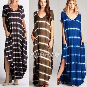 Dresses & Skirts - Oversized loose maxi dress slit pockets tie dye