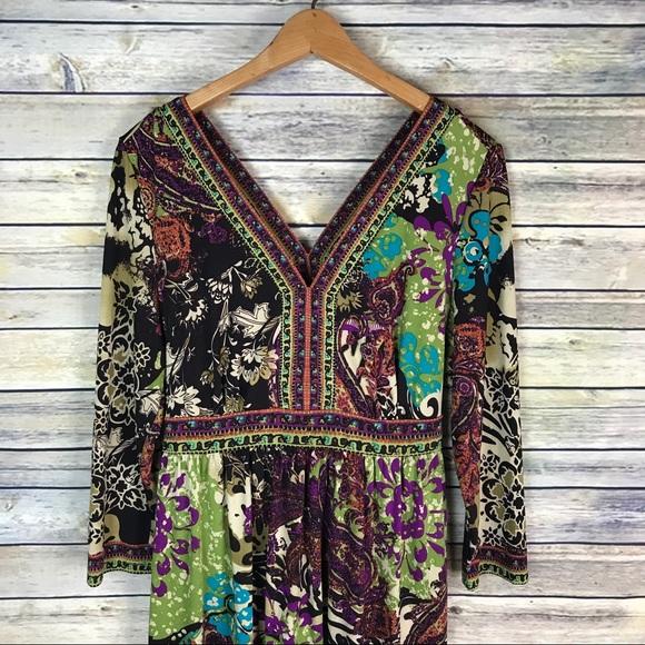 ECI Dresses - ECI Nordstrom Colorful 3/4 Sleeve Pattern Dress