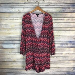 Jessica Simpson Red Chevron Cold Shoulder Romper