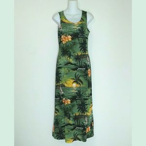 Vintage Dresses & Skirts - Vintage 90s Tropical Sailboat Jamaican Maxi Dress
