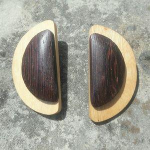 Jewelry - Half moon wood earrings