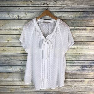 Loft White Dotted Tie Neck Button Up Blouse