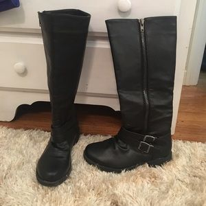 Journee Collection Shoes - Black Calf High Boots Size 8