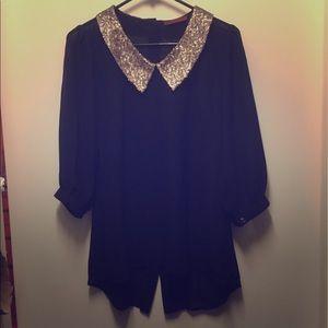 Shear sequin blouse
