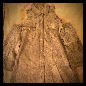 Lacey gray blouse