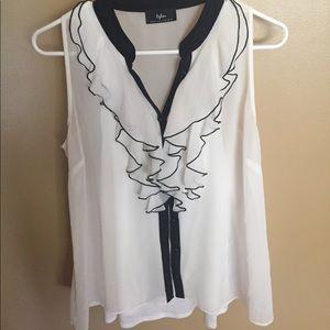 Amy Byer -Byline White Sheer Ruffle Shirt