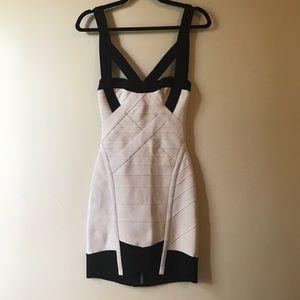 Herve Leger cream & black dress