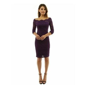 PattyBoutik Dresses & Skirts - Dark Purple Lace Midi Dress