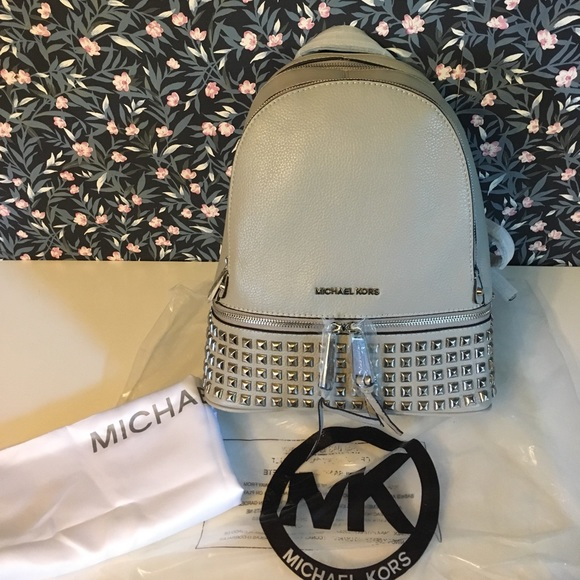 a90c26fcc8e3 Michael Kors Rhea zip studded leather backpack