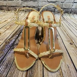 MIA Espadrille Wedge Sandals with Gold Details