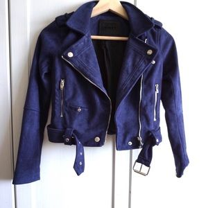 HOLD! BLANK NYC Faux Suede Navy Jacket