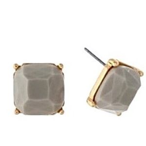 🌎👂🏼Gold Tone Gray Faceted Square Stud Earrings