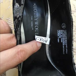 Hollywould for Target Shoes - Hollywould Black Silver Lace High Heels with Bow