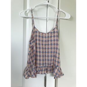 Tops - Adorable plaid shirt with cross and ruffle design