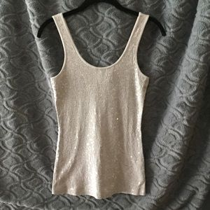 Express gray sequin tank top. Size S