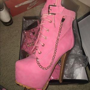 pink high heel timberland boots