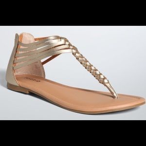 torrid Shoes - New Torrid Gold Braided T-Strap Sandals