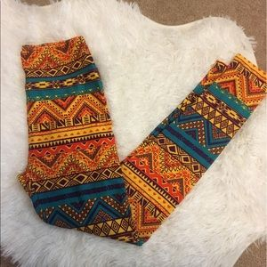 Lularoe yellow tribal print leggings