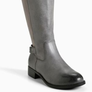 torrid Shoes - EUC Torrid Gray Metal Heel Strap Knee Boots