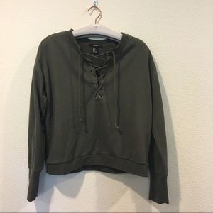 Forever 21 Sweaters - Forever 21 forest green lace up front sweatshirt