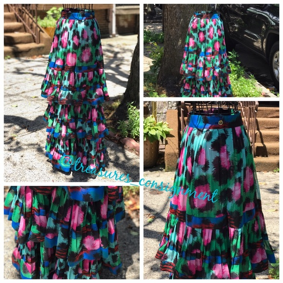 664c46a0 Kenzo Skirts | Xhm Silk Maxi W Tiered Ruffles Skirt | Poshmark