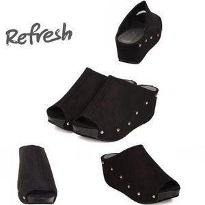 Refresh Shoes - NWOB Refresh Elva Black Suede Studs Platform Mule