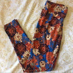 LuLaRoe Pants - LuLaRoe OS Floral Pattern Contrast Leggings