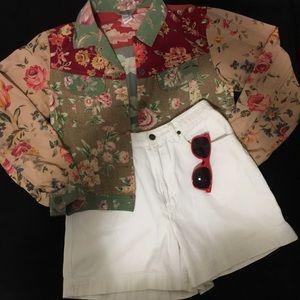 Vintage Jackets & Blazers - VINTAGE FLORAL CROPPED JACKET
