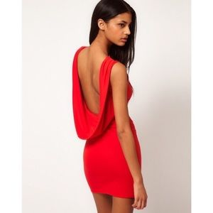 ASOS Red Sexy Cowl Back Dress