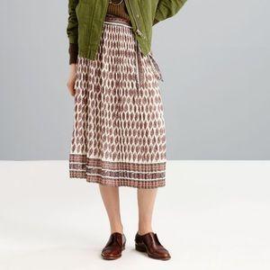 MADEWELL Diamond Floral Pleated Skirt Size 6