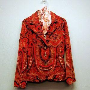 Wonderful 70s Inspired Corduroy Orange Red Jacket