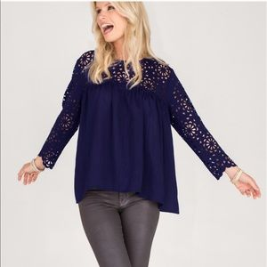 The NEW Boutique Tops - Navy Laser Cutout Loose Fitting Top