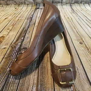 Nine West Tuffyo Leather Wedge with Buckle Detail
