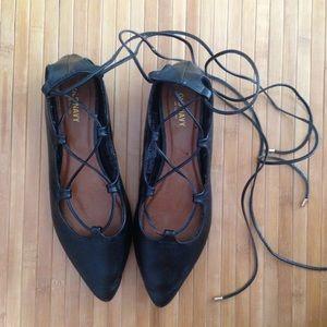 Black Lace Up Flats