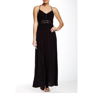 Socialite Black Maxi Dress with Lace Middle