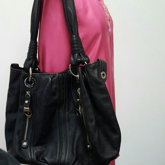 f411b3f1f0 b. makowsky Handbags - B. Makowsky Black Durango Pebble Leather Purse