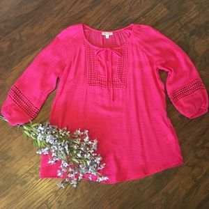 Hot pink boho gauzy top