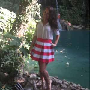 Striped Coral and White Skirt