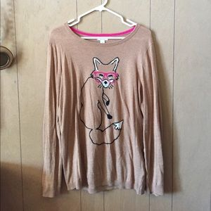 Beige sweater with fox print
