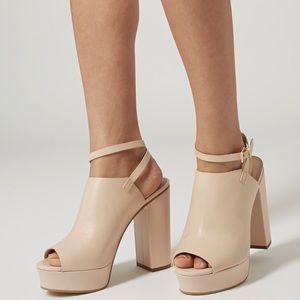Topshop Leather Ankle Strap Open Toe Platform