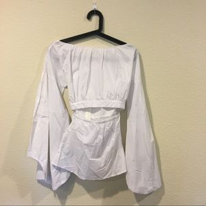Tops - White cutout bell sleeve blouse top
