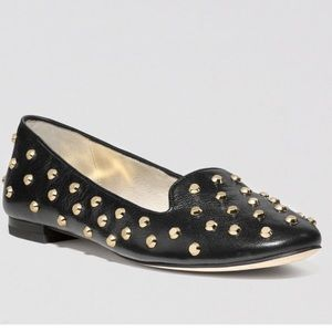 Michael Kors Ailee gold studded leather flat