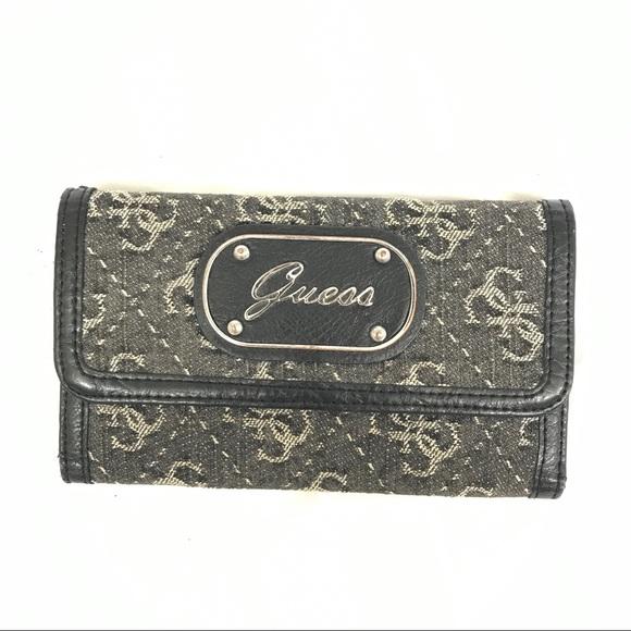 100 Off Guess Handbags Guess Black Gray Tri Fold