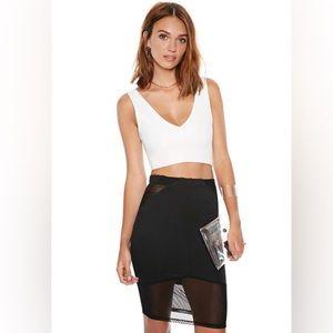 Knit Mesh Cutouts Pencil Skirt