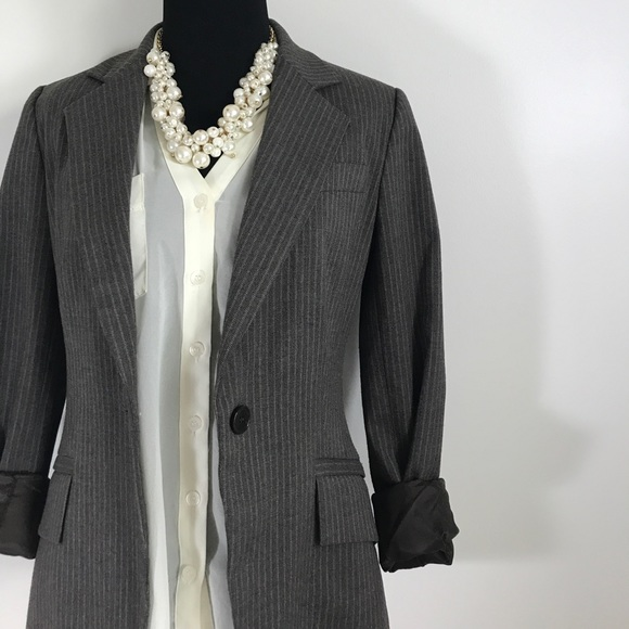 Zara Jackets & Blazers - Zara Basic Pin Stripe Striped Brown Button Blazer