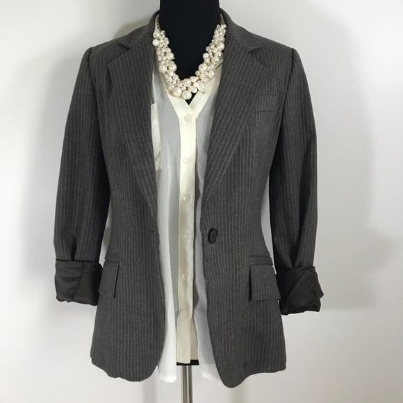 Zara Jackets & Coats - Zara Basic Pin Stripe Striped Brown Button Blazer